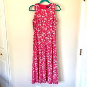 Lauren RL Size 4 Coral Maxi Floral Belted Dress